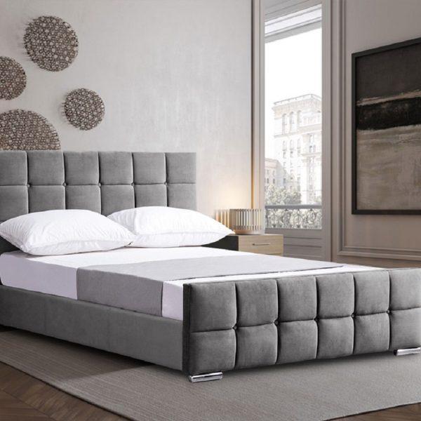 Minsa Bed Double Plush Velvet Grey - Double