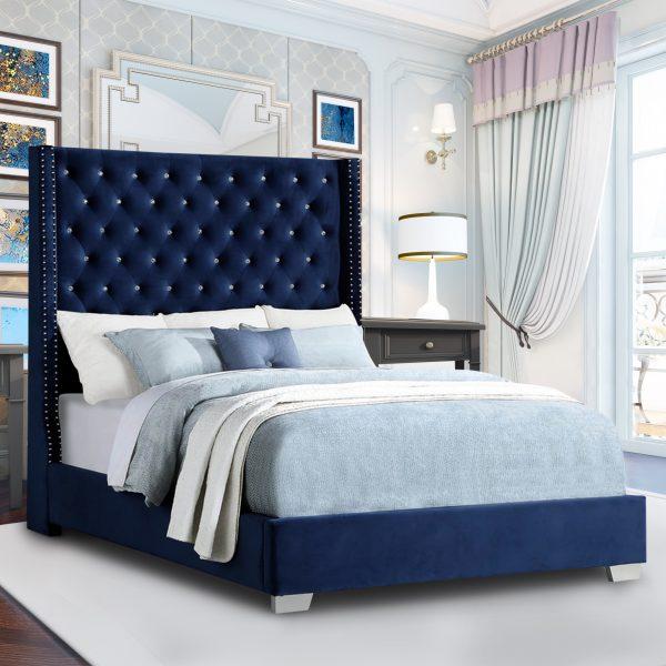 Nivana Bed Double Plush Velvet Blue - Double