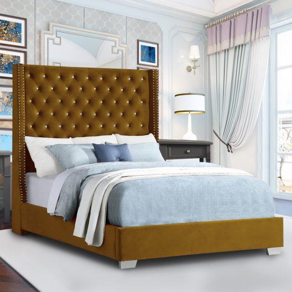 Nivana Bed King Plush Velvet Mustard - King Size