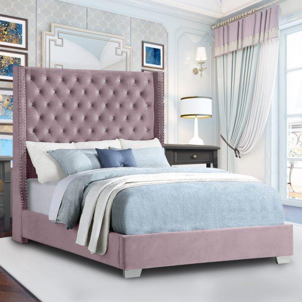 Nivana Bed King Plush Velvet Pink - King Size