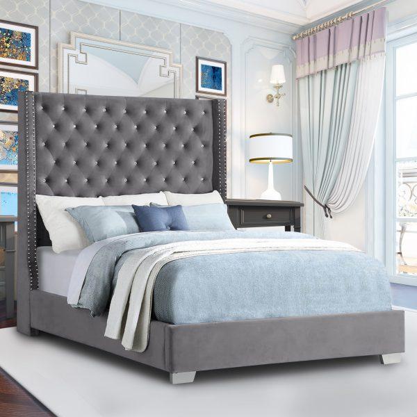 Nivana Bed King Plush Velvet Steel - King Size