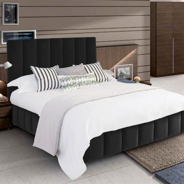 Nora Bed Double Plush Velvet Black - Double