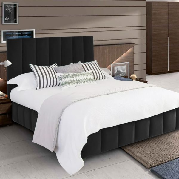 Nora Bed King Plush Velvet Black - King Size