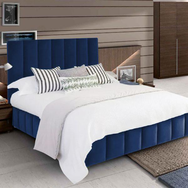 Nora Bed Single Plush Velvet Blue - Single