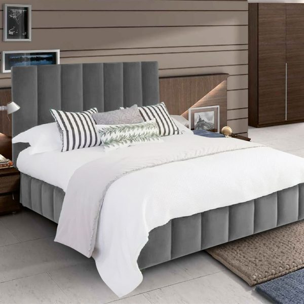 Nora Bed Small Double Plush Velvet Grey - Small Double