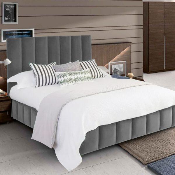Nora Bed Double Plush Velvet Grey - Double