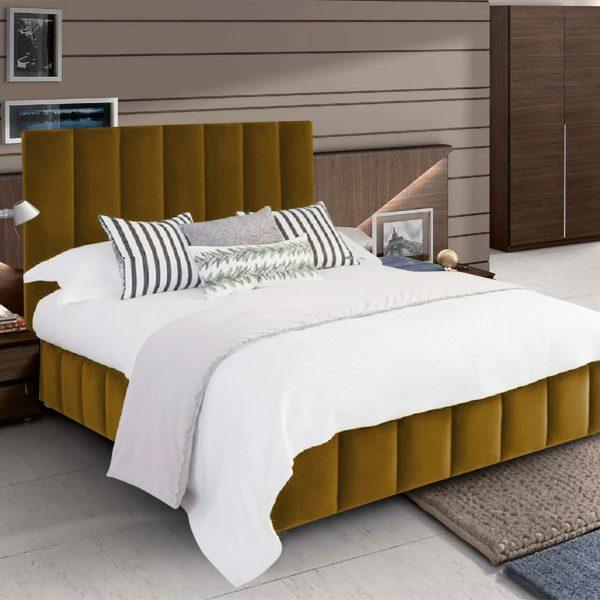 Nora Bed King Plush Velvet Mustard - King Size