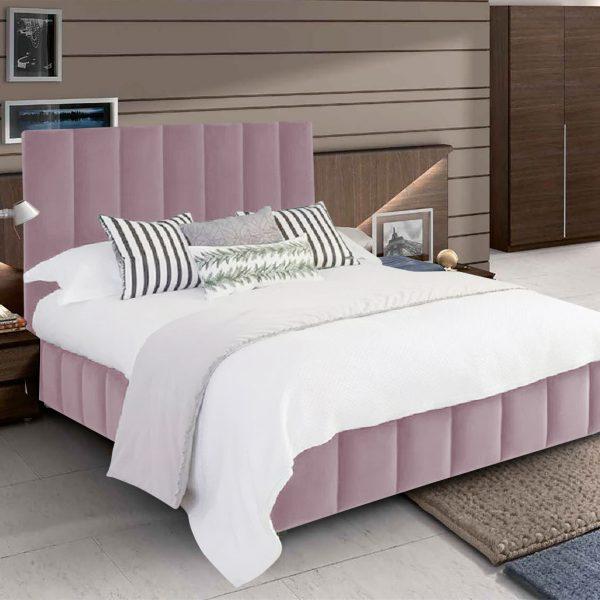 Nora Bed King Plush Velvet Pink - King Size