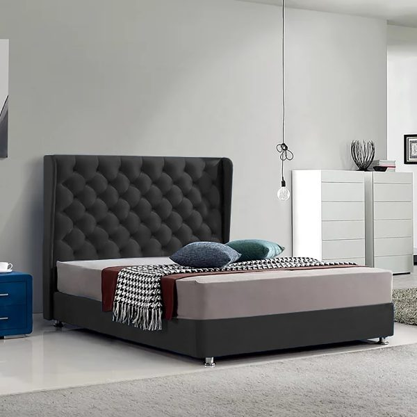 Ondra Bed King Plush Velvet Black - King Size