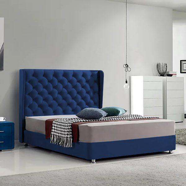 Ondra Bed Double Plush Velvet Blue - Double