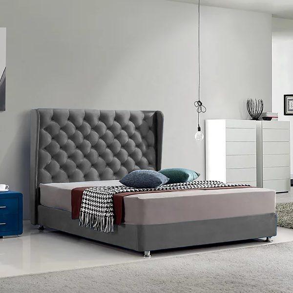 Ondra Bed King Plush Velvet Grey - King Size