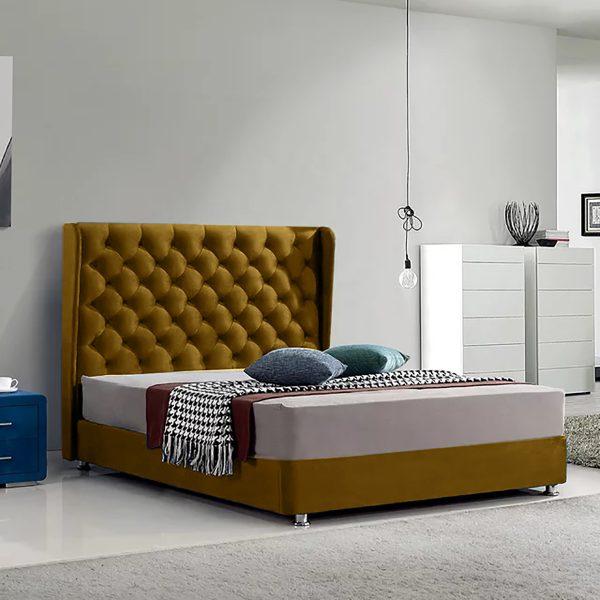Ondra Bed Single Plush Velvet Mustard - Single