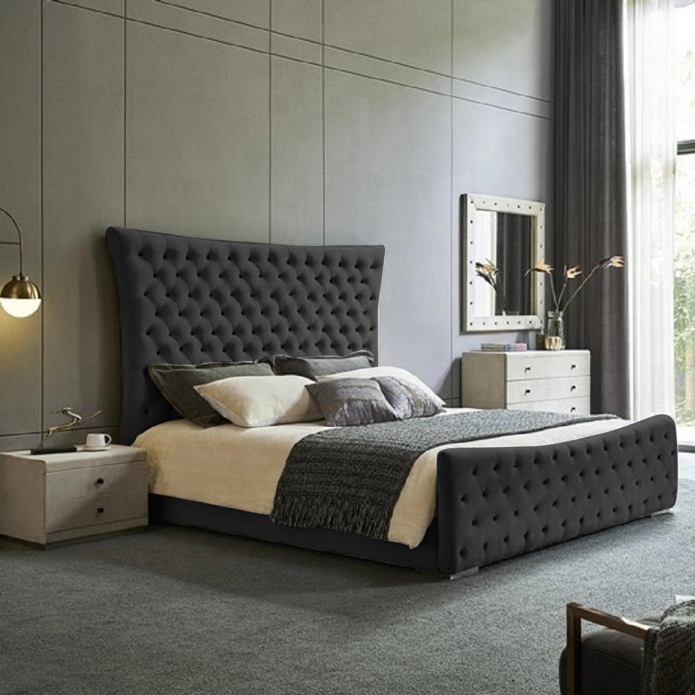 Plexa Bed King Plush Velvet Black - King Size