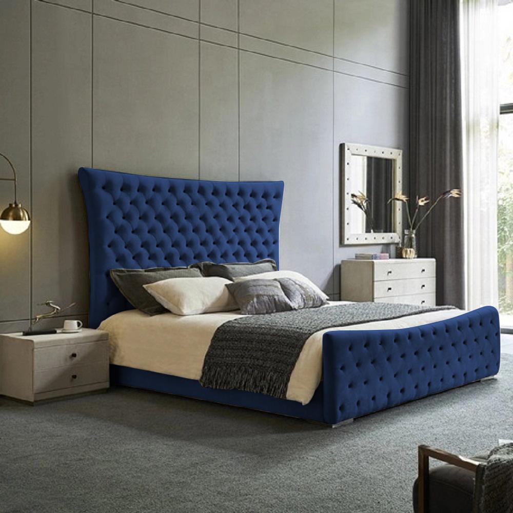 Plexa Bed Double Plush Velvet Blue - Double