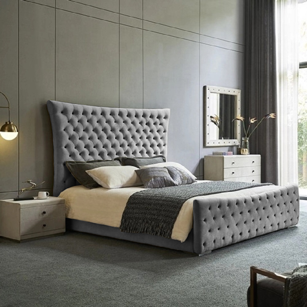 Plexa Bed King Plush Velvet Grey - King Size
