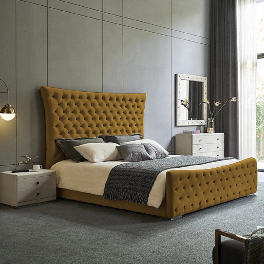 Plexa Bed King Plush Velvet Mustard - King Size
