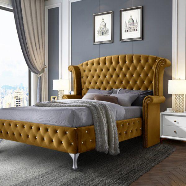 President Bed King Plush Velvet Mustard - King Size