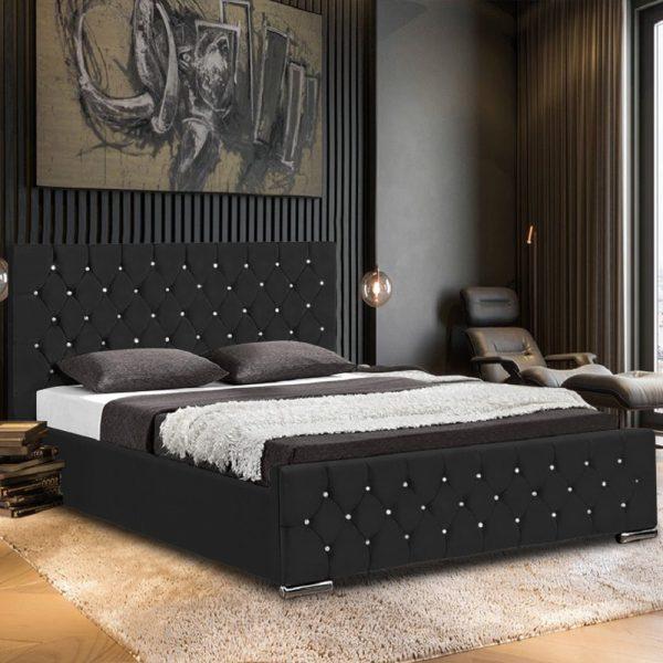 Prima Bed Small Double Plush Velvet Black - Small Double