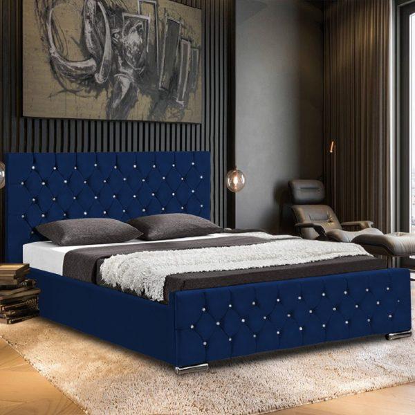 Prima Bed Single Plush Velvet Blue - Single
