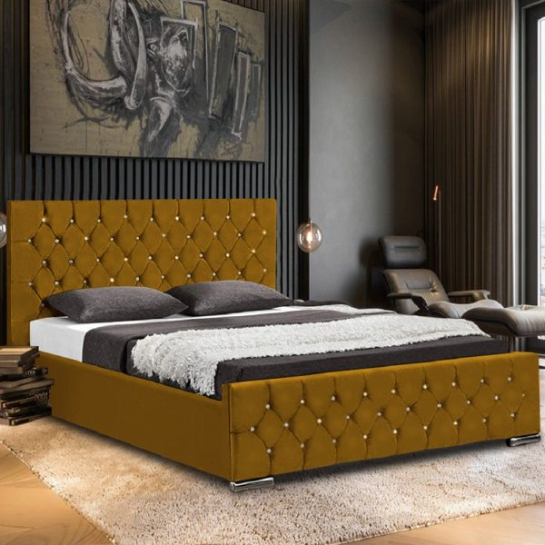 Prima Bed Super King Plush Velvet Mustard - Super King