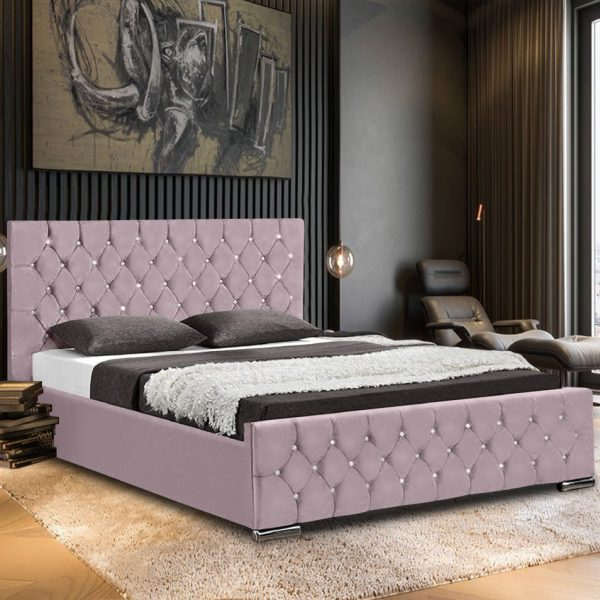 Prima Bed Small Double Plush Velvet Pink - Small Double