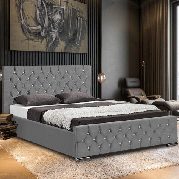 Prima Bed Small Double Plush Velvet Grey - Small Double