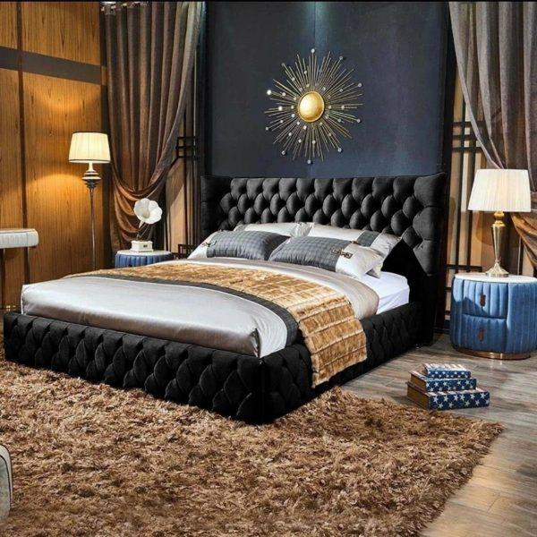 Royale Bed Double Plush Velvet Black - Double