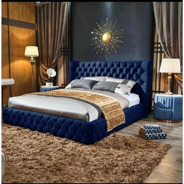 Royale Bed Double Plush Velvet Blue - Double