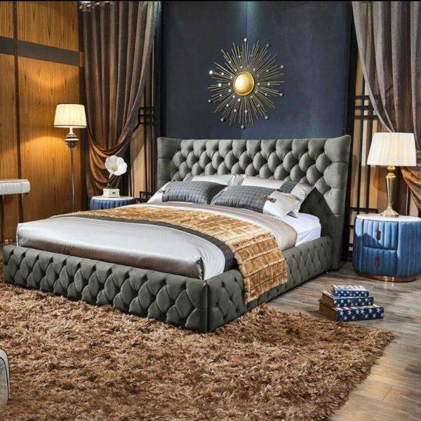 Royale Bed Double Plush Velvet Silver - Double