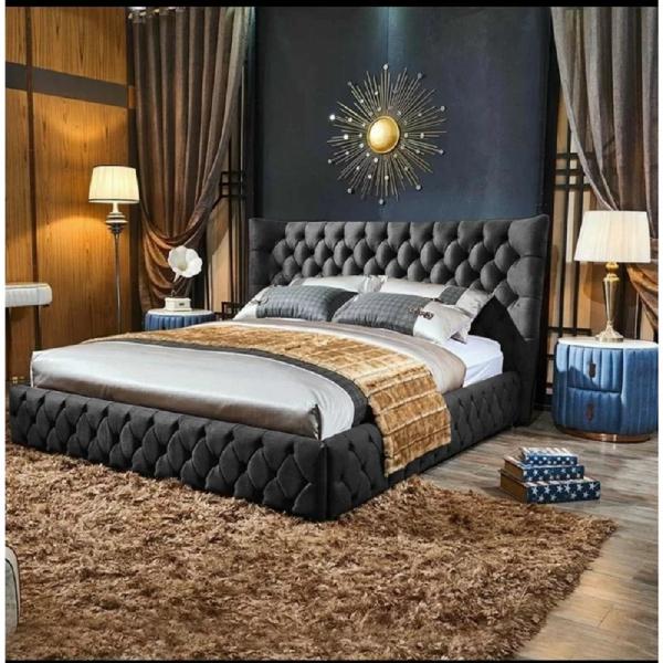 Royale Bed Double Plush Velvet Steel - Double