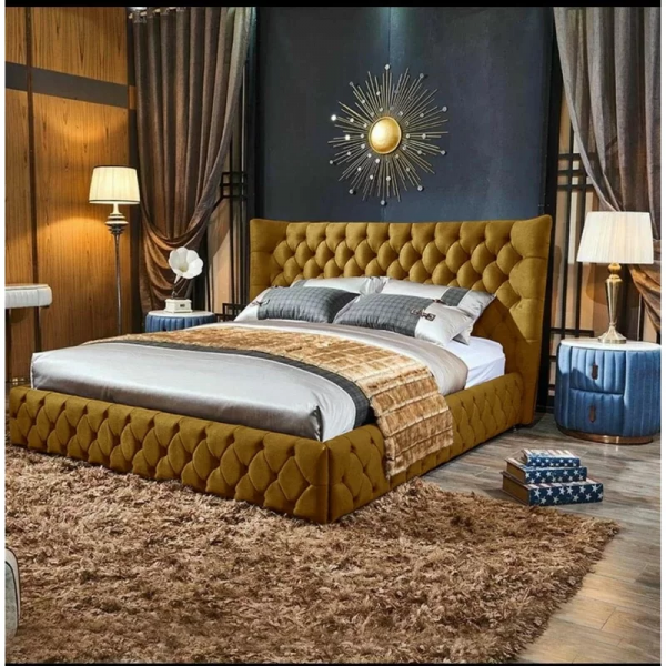 Royale Bed Small Double Plush Velvet Mustard - Small Double