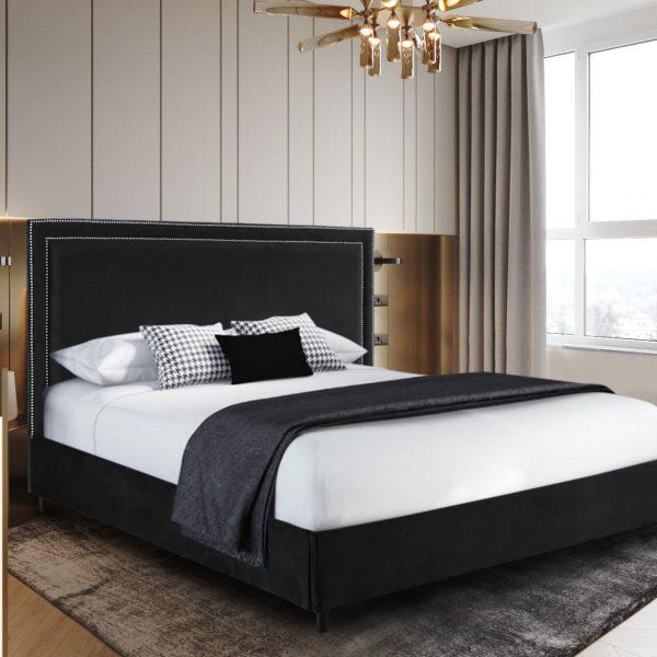 Sensio Bed Small Double Plush Velvet Black - Small Double