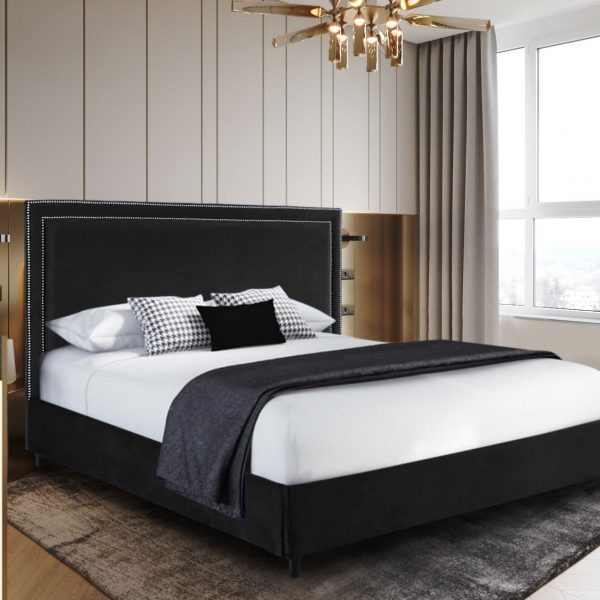 Sensio Bed King Plush Velvet Black - King Size