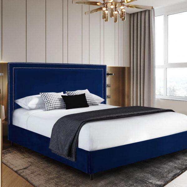 Sensio Bed Double Plush Velvet Blue - Double