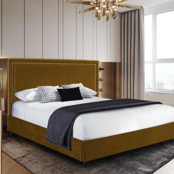 Sensio Bed Small Double Plush Velvet Mustard - Small Double