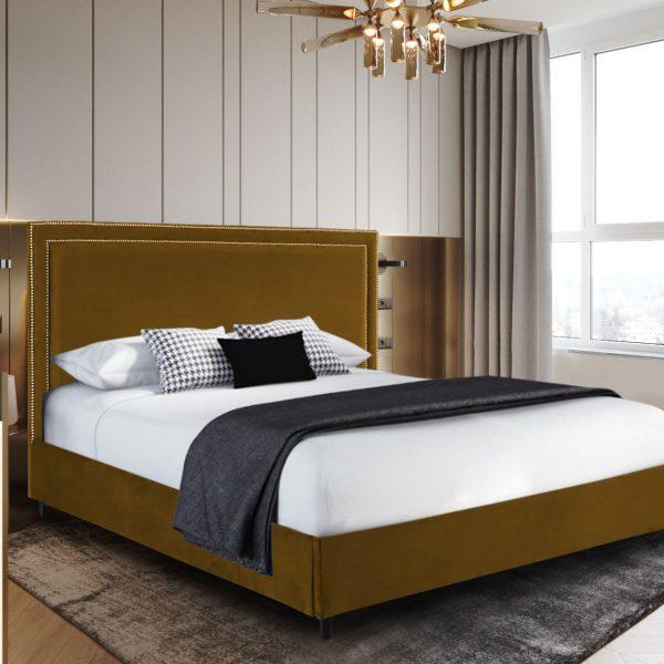 Sensio Bed King Plush Velvet Mustard - King Size