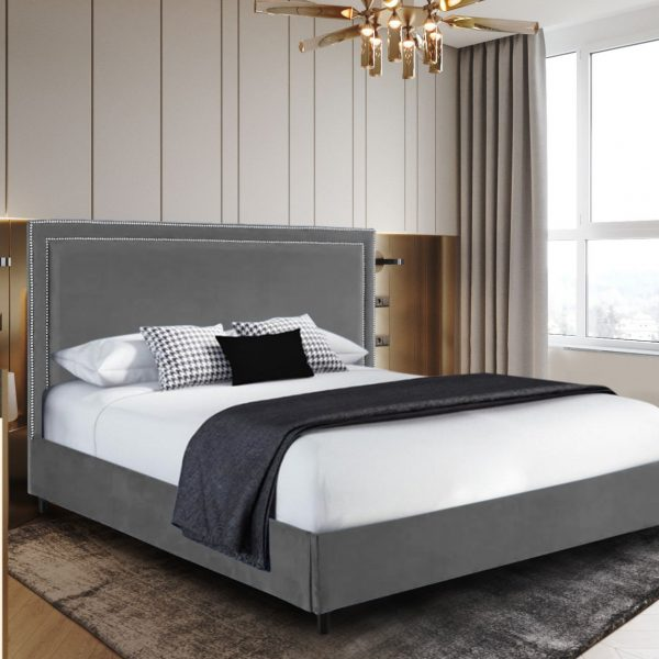 Sensio Bed Small Double Plush Velvet Grey - Small Double
