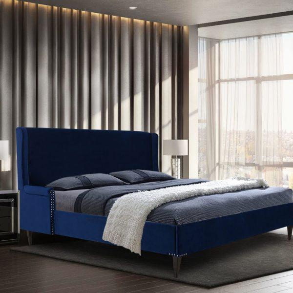 Shanaya Bed King Plush Velvet Blue - King Size