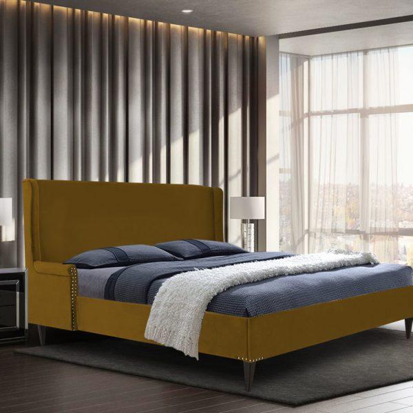Shanaya Bed Double Plush Velvet Mustard - Double