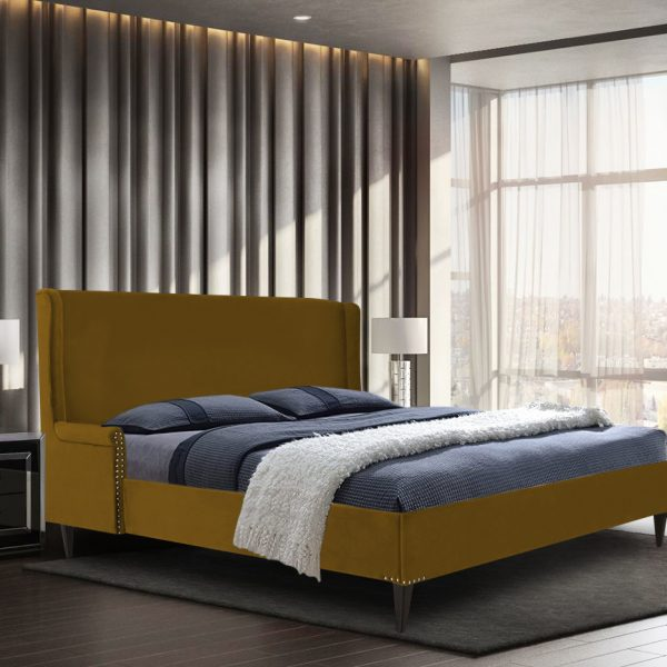 Shanaya Bed King Plush Velvet Mustard - King Size