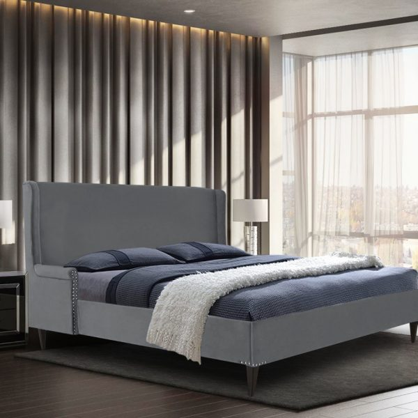 Shanaya Bed King Plush Velvet Grey - King Size