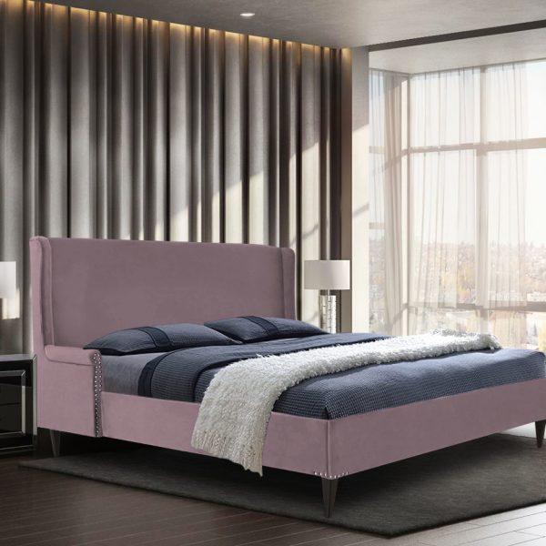 Shanaya Bed King Plush Velvet Pink - King Size