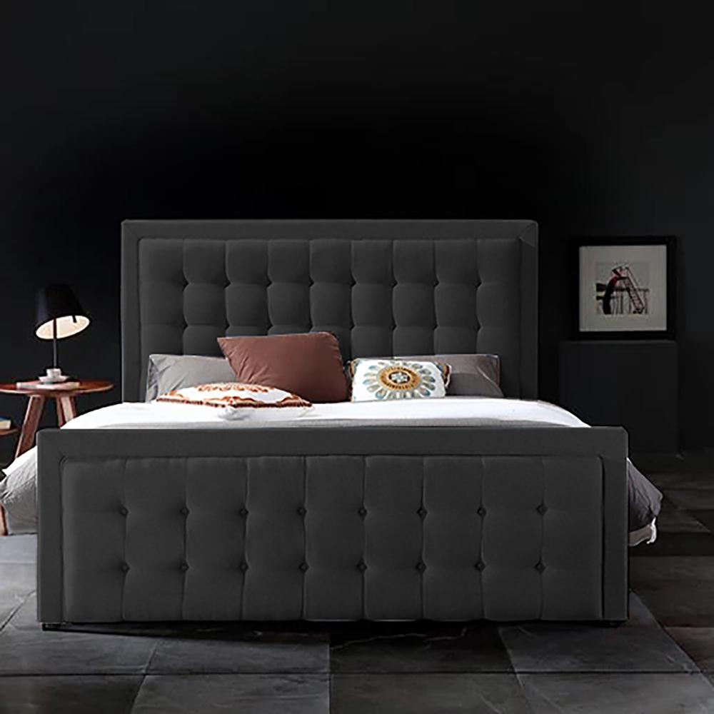 Swain Bed King Plush Velvet Black - King Size