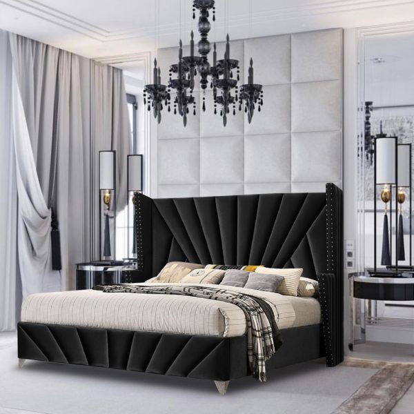 The Premiere Bed Small Double Plush Velvet Black - Small Double
