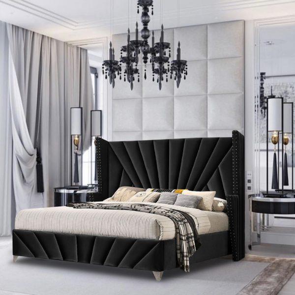 The Premiere Bed King Plush Velvet Black - King Size