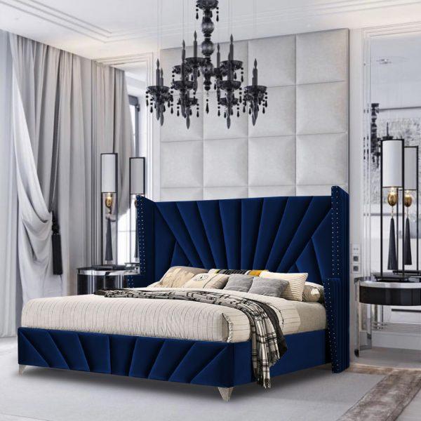 The Premiere Bed King Plush Velvet Blue - King Size