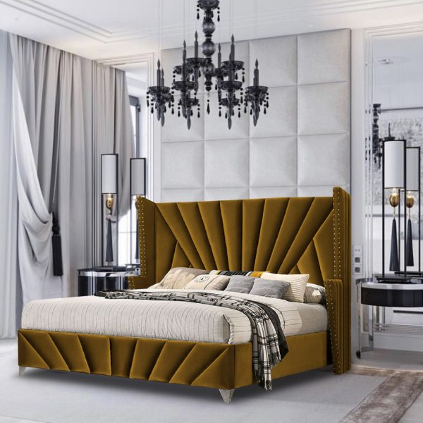 The Premiere Bed Small Double Plush Velvet Mustard - Small Double