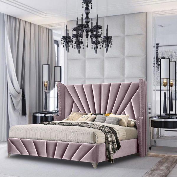 The Premiere Bed King Plush Velvet Pink - King Size