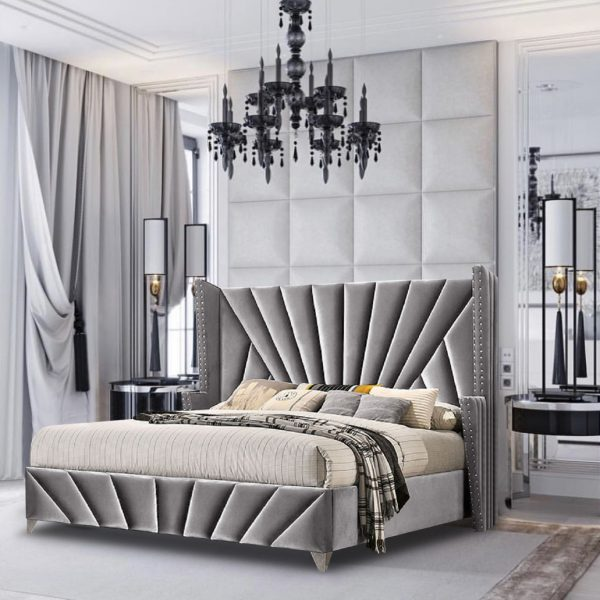 The Premiere Bed Super King Plush Velvet Grey - Super King