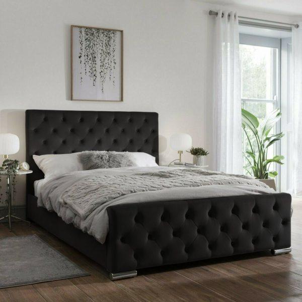 Traffalger Bed King Plush Velvet Black - King Size